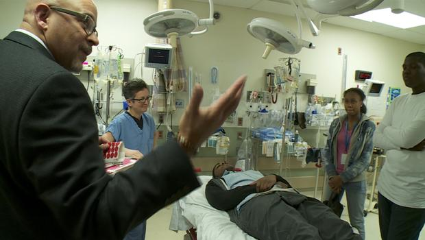 Students visit Temple University hospital trauma unit. CBS NEWS